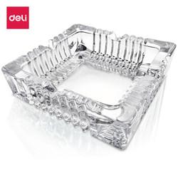 deli 得力 中号欧式方形玻璃烟灰缸 120*120mm