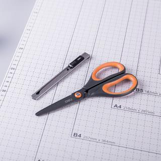得力(deli)不锈钢剪刀170mm+金属美工刀小号 办公2件套装 颜色随机33432