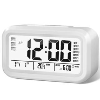 天章办公(TANGO) 探戈电子温度计多功能日历时钟闹钟 办公桌面电子时钟 语音报时 夜光自动感应 白色