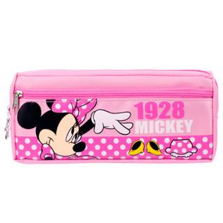 迪士尼(Disney)小学生笔袋米妮大容量儿童笔盒收纳袋文具袋双层设计 粉红色DM5620