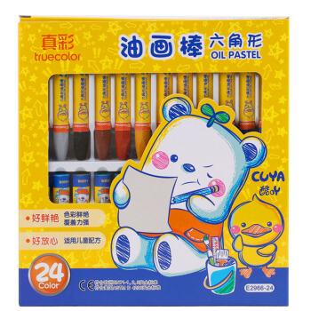真彩(TRUECOLOR)24色学生六角杆丝滑易上色油画棒儿童蜡笔绘画笔 2盒/2966A