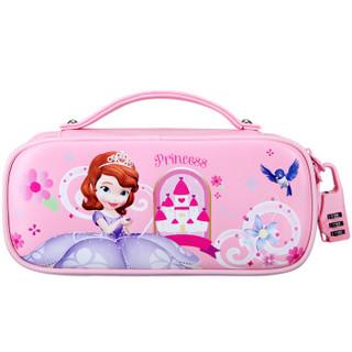 迪士尼(Disney)小学生笔袋PU皮密码锁笔盒女韩国简约大容量铅笔盒苏菲亚文具盒收纳袋 粉色
