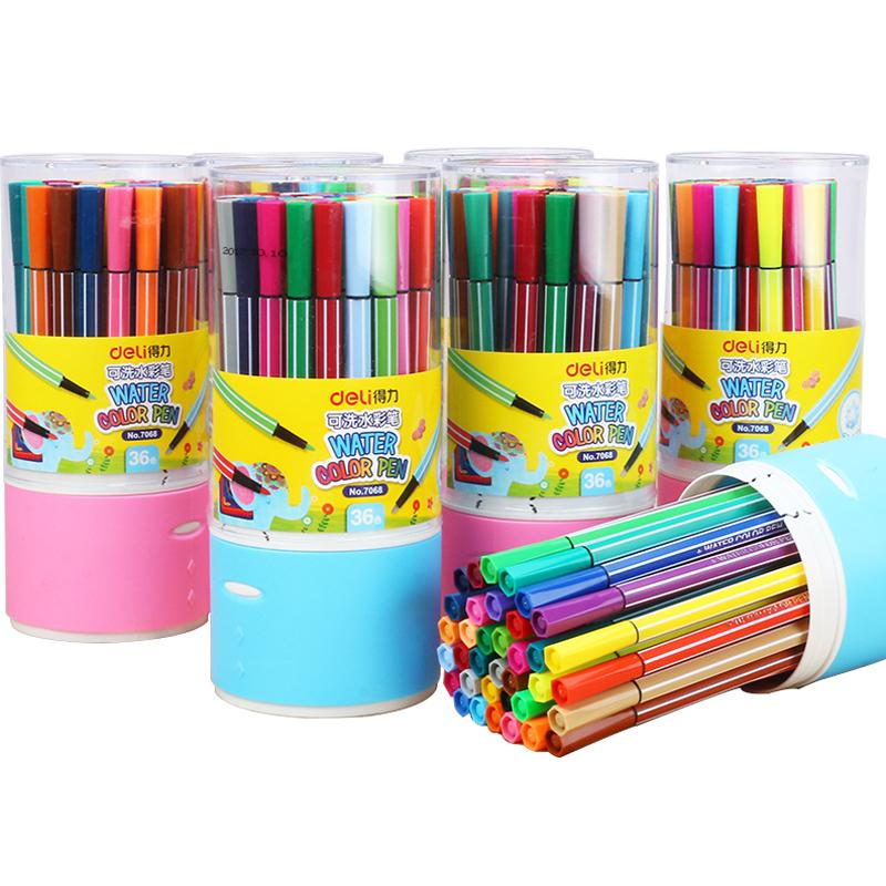 得力(deli)24色可洗水彩笔 彩色绘画涂色颜色玩具 儿童画画 文具美术画材学习用品 24色收纳筒7067 *5件