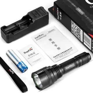 神火(supfire)C8T6 强光手电筒 远射LED充电式防身灯 配18650电池