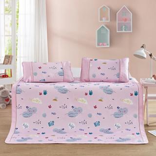 LOVO HOME 罗莱生活 儿童卡通印花冰丝席三件套 小河马爱洗澡粉色 150*200cm