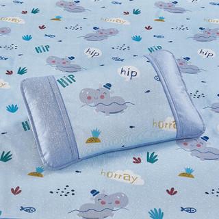 LOVO HOME 罗莱生活 儿童卡通印花冰丝席两件套 小河马爱洗澡蓝色 120*195cm