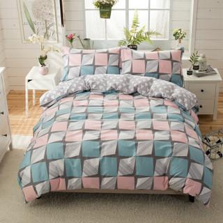 自然醒纯棉四件套双人床单小清新套件床上用品1.8m床被套枕套 阳光旅行-粉 1.5/1.8m床通用(被套200*230cm)