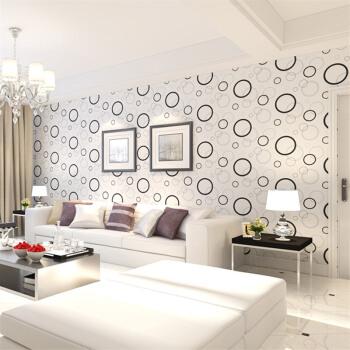FOOJO自粘墙贴墙纸 防水壁纸 家具电视背景墙翻新贴膜贴纸 0.45*10米灰白圆圈
