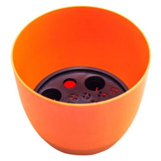美乐棵 花盆 圆形 自灌溉室内桌面盆栽 多肉盆栽植物 桌面盆景彩色花盆2.2L 橙色