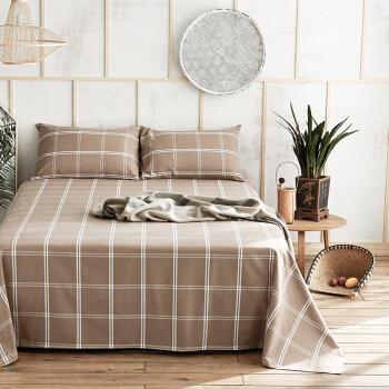大朴(DAPU)床单家纺 纯棉老粗布床单 山东老粗布工艺 大双人被单 单件 驼色格子 1.8米床 240*270cm *3件