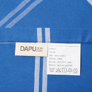 DAPU 大朴 纯棉老粗布床单 蓝色格子 240*270cm