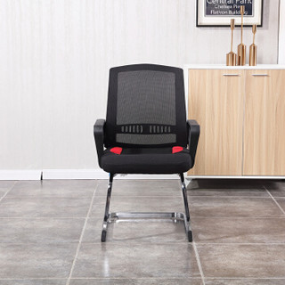 麦森(maisen)电脑椅 家用培训弓形椅 网布职员办公老板靠背椅子 黑色 MS-GXY-110