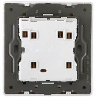 飞雕(FEIDIAO)开关插座 双开双控开关 大板电源墙壁开关面板 二开双控/雕琢拉丝白