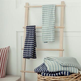 京造 全棉针织条纹四件套 床单款 水绿色 1.5m床