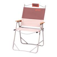 喜马拉雅 户外折叠椅 便携铝合金折叠凳 沙滩钓鱼休闲靠椅子大号铝凳咖色 HF9107