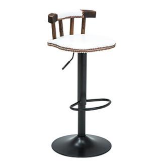 94027吧椅铁艺吧台椅实木靠背旋转欧式美式复古星巴克高脚凳酒吧椅子铁塔布艺