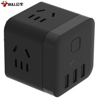 BULL 公牛 GN-U303WH 无线魔方USB插座 3USB+3插孔 黑色