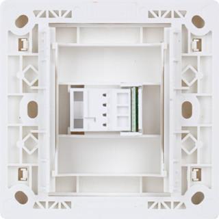 飞雕(FEIDIAO)开关插座面板 一位四芯墙壁电话插座 电话线插座 86型A3嘉润白