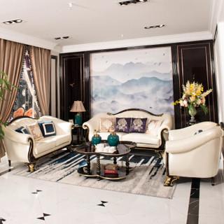 中伟ZHONGWEI欧式沙发 优质牛皮实木沙发 客厅实木雕花沙发组合3+1+1
