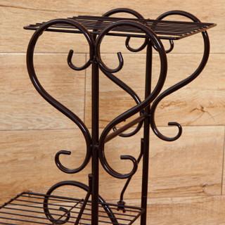 欧润哲 花盆架 欧式4层花架铁艺阳台客厅花盆置物架花盘储物架 棕色