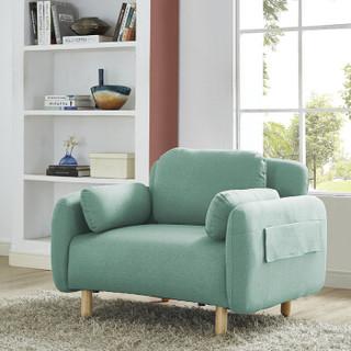 好事达易美定制沙发 北欧简约布艺沙发 实木椅腿可半拆洗 湖蓝色单人位092