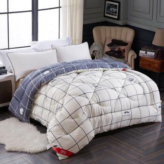 南极人 被芯家纺 四季被子 春秋被空调被 纤维保暖棉被双人盖被 奶白深灰 180*200cm 4斤 *6件