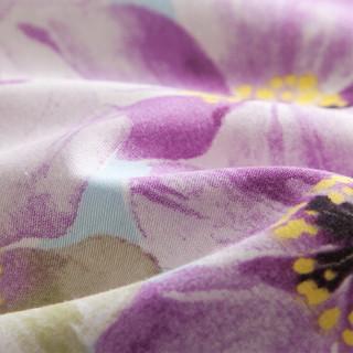 TEVEL 堂皇家纺 全棉斜纹印花四件套 蝶栖花语-紫色 1.8米床