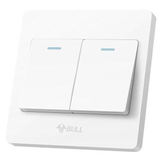 公牛(BULL) 开关插座 G07系列 二开单控开关 86型面板G07K211Y 白色 暗装