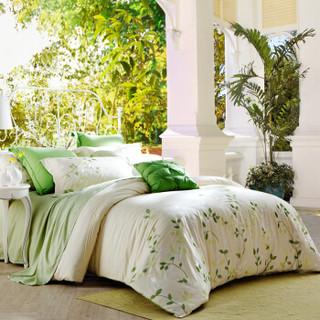TEVEL 堂皇家纺 纯棉绣花四件套 绿野-米黄+绿色 1.5米床