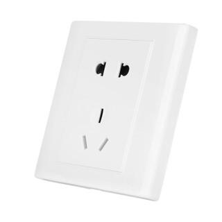 美的(Midea)开关插座电源面板86型五孔5孔二三插墙壁暗装雅白10只十套餐E03