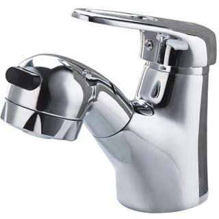 名爵(MEJUE)Z-1207抽拉式面盆水龙头 全铜主体洗脸盆冷热面盆龙头 花洒水柱双出水