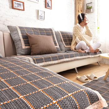 FOOJO富居编织四季沙发垫贵妃坐垫飘窗垫三人位90*180cm方格