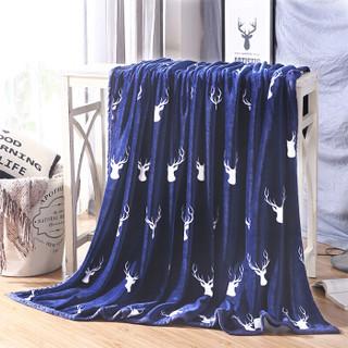 意尔嫚 加厚法兰绒毛毯 鹿头蓝 150*200cm
