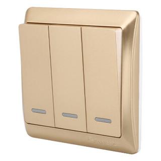 飞雕(FEIDIAO)高端开关插座面板 三开双控 三联三位双控电源墙壁开关 86型出色金