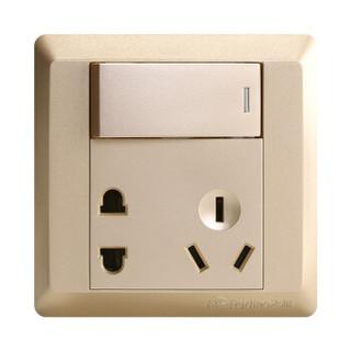 飞雕(FEIDIAO)高端开关插座面板 五孔插座10A带单开双控电源墙壁开关 86型出色金