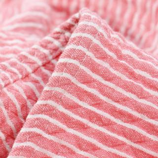 三利 棉布韩版条纹毛巾被 菱格缝线空调毯子 居家办公午休四季通用盖毯 双人200×230cm 珊瑚粉