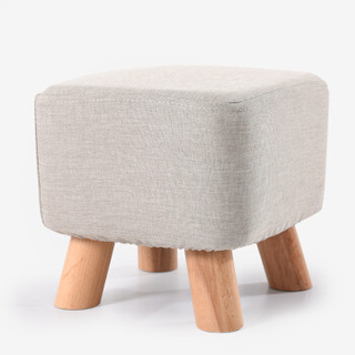 家逸 四脚实木小凳子 布艺素颜方墩 矮凳 换鞋凳 沙发凳
