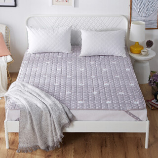 九洲鹿 床垫家纺 软垫舒适透气床垫四季保护垫 休闲床垫子 床褥子 灰色印花 1.2米床 120*200cm