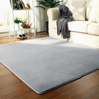 九洲鹿 地毯 珊瑚绒客厅卧室140*200cm 素色防滑沙发欧式加厚床边毯 茶几爬行垫 烟灰