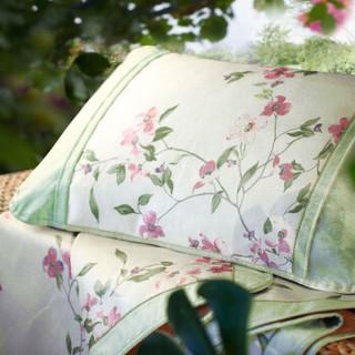 水星家纺 冰丝席子可折叠凉席三件套防滑绑带 空调印花席 轻风物语 床上用品加大双人1.8米床