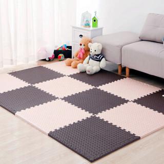 九洲鹿 儿童卧室拼图地板地垫 咖色加米色 60*60cm 4个装
