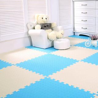 九洲鹿 儿童卧室拼图地板地垫 叶纹浅蓝加米色 30*30cm 9个装