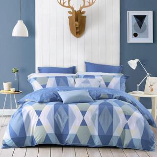 水星家纺 床上四件套纯棉 全棉床品套件床单被罩被套 床上用品 贝里尼  双人1.5米床