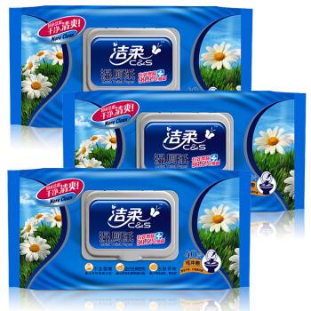 C&S 洁柔 湿厕纸 除菌40片*3包 擦除99.9%细菌(抽取式湿巾)私处卫生清洁湿巾纸 搭配卷纸卫生纸使用
