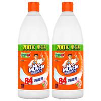 运费券收割机:Mr Muscle 威猛先生 84消毒液 清新花香 700g*2瓶装 *2件