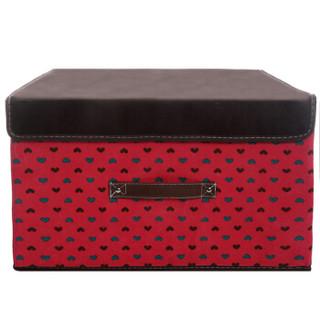 空间优品 圆点收纳箱/衣物整理箱杂物收纳盒一只装 36L 红色 大号