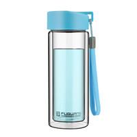 富光 耐热防烫便携提手水杯透明双层玻璃杯 天蓝色 280ml (G1311-280) *10件