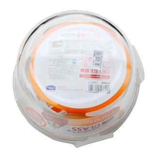 乐扣乐扣 微波炉玻璃饭盒大容量保鲜盒套装 食品密封盒便当盒餐盒子 大号泡面玻璃碗带盖 赠便当包 950ML*2