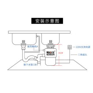 爱迪生(EDISON)ADS18-2食物垃圾处理器处理机家用厨房厨余粉碎机残渣粉碎器 空气开关款