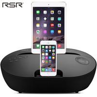 RSR DS415苹果音响 iphone7/6s双接口手机充电底座 蓝牙音箱低音炮 黑色